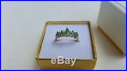 Fine Estate Ladies Real 14K Yellow Gold Marquise Emerald and Diamond Ring Size 7