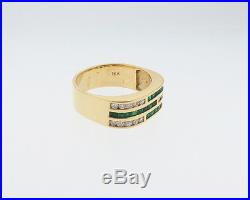 Fine Jewelry Natural Emeralds Diamonds Solid 18k Yellow Gold Ring 7mm Band Sz6.5