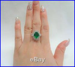 Fine Large Emerald and Diamond Cluster Ring 18ct White Gold Size R (US 8.5)