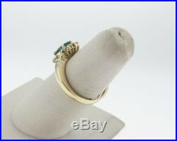 Fine Natural Green Emerald Diamonds Solid 14k Yellow Gold Ring FREE Sizing