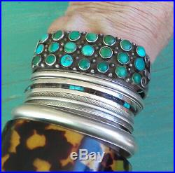 Fine Old Vintage Silver Indian Zuni 3 Row Green Blue Turquoise Cuff Bracelet