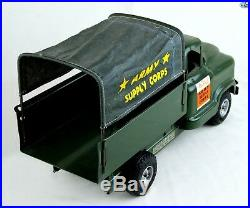 Fine Original 1950s Vintage Buddy L Army Supply Corps Truck, Extension with Box