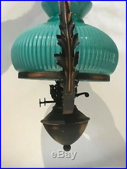 Fine Victorian Style Acanthus Duplex Wrought Iron Ceiling Light & Glass Shade