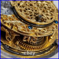 Fine and early hairspring alarm verge pocket watch. Spindeluhr montre coq oignon