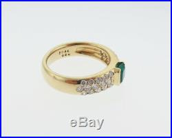 Fine jewelry Natural Green Emerald Diamond Solid 18k Yellow Gold Ring 5.5mm Band