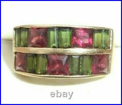 Fine vintage 14K yellow gold green red tourmaline ring size 7