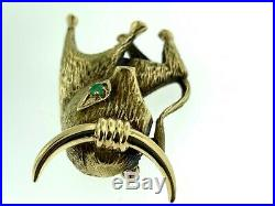 Forum JewelryVintage 14Kt Yellow Gold & Emerald Figural Bull or ToroBrooch/Pin