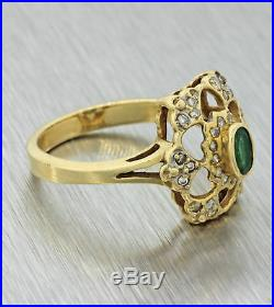 Franklin Mint Vintage Estate 14k Solid Yellow Gold. 55ctw Emerald Diamond Ring