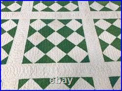 Fugitive Green! Dated 1909 Checkerboard QUILT Antique Fine Quilting Primitive