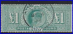 GB EVII 1911 SG320 £1 deep green Very fine used + socked on the nose CDS