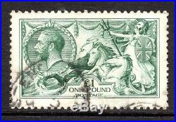 GB KGV SG404 £1 Dull Blue Green Seahorse Fine Used Cat £1,600