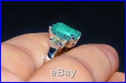 GIA 5.22cts Natural Zambian Emerald VS F Diamond Solid Platinum Three Stone Ring