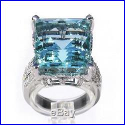 GIA Certified 23.53 tcw Blue Aquamarine and Diamond Cocktail Ring 18k White Gold