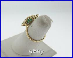 GIA Certified Vintage Estate Emerald Diamonds Solid 18k Yellow Gold Ring FREE Sz