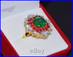 GIA Natural 7.4Cts Emerald Ruby VS F Diamond 18K Solid Gold Cocktail Dinner Ring
