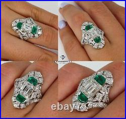 Gia 4.0ct Antique Art Nouveau Emerald Cut Diamond And Green Emerald Plat Ring