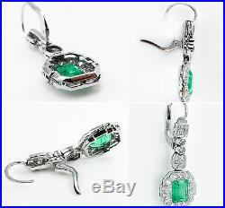 Gia 4.80ct Antique Vintage Colombian Green Emerald Diamond Drop Dangle Earrings