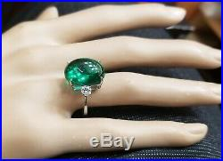 Gorgeous Vintage 14k White Gold Ring 12.50ct. Gem Green Emerald Cabochon Oval
