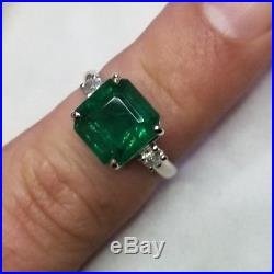 Gorgeous Vintage 14k White Gold Ring 4.81ct. Natural Green Emerald