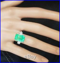 Gorgeous Vintage 14k White Gold Ring 8.29ct. Gem Colombia Mint Green Emerald