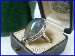 Gorgeous Vintage Solid Sterling Silver Moss Agate Cabochon Ring Size T 9.5 Rare