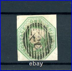 Great Britain 1847/54 1s Green Embossed (SG 54) Cut Square fine-used (P1353)