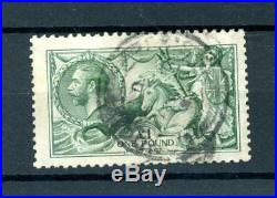 Great Britain 1913 £1 Green Seahorse (SG 403) fine-used (B680)