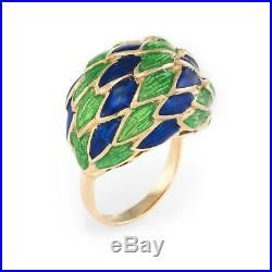 Green & Blue Enamel Feather Domed Cocktail Ring Vintage 18k Yellow Gold Estate