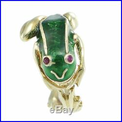 Green Enamel Ruby Frog Ring Solid 14k Yellow Gold Womens Wide Band US 8.25