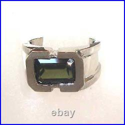 Heavy 3.18ct Green Sapphire Solid 14K W Gold Mens Ring Fine Jewelry