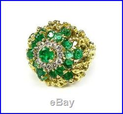 Hi End 2.87CT Natural Emerald Fine Diamond Cocktail Ring 18K Yellow Gold 16.4g