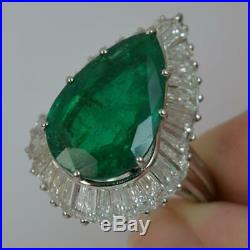 Huge Pear Cut Emerald and 5.00ct Diamond 18ct Gold Cocktail Ring d0378
