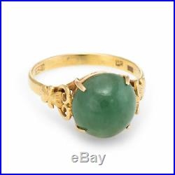 Jade Cocktail Ring Vintage 18k Yellow Gold Estate Fine Jewelry Pre Owned