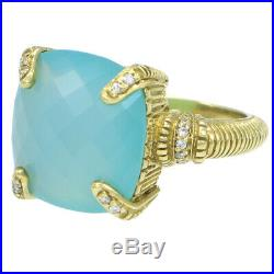 Judith Ripka Large 19ct Green Chalcedony Diamond Cocktail Ring 18k Yellow Gold