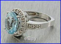 Ladies 14k Solid White Gold Aquamarine & Diamond European Shank Cocktail Ring