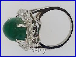 Large Cabochon Colombian Emerald (9 cts)+DiamondsLady's Vintage 14K RingEstate