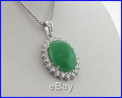 Large Green Jade 1.50cts Diamonds Solid 18k White Gold Halo Pendant 20 Necklace