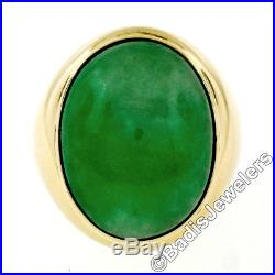 Large Vintage Men's 14K Yellow Gold Oval Bezel Fine Large Jade Solitaire Ring