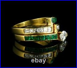 MAYORS SIGNED FINE NATURAL 1.80ctw COLOMBIAN EMERALD & DIAMOND 18K GOLD RING