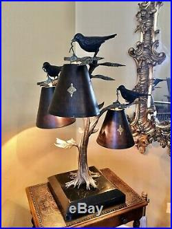 Maitland-Smith Birds in a Tree Lamp Finely Cast Bronze WOW