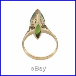 Marquise Nephrite Green Jade Cocktail Ring 14k Yellow Gold 1940 Vintage Art Deco