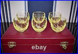 Moser Stunning Boxed Set Of Six Engraved Green Fine Glass Vodka / Liqueur Cups