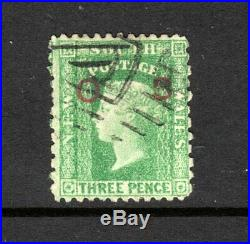 NSW ASC 35a 1854-71 3d Green Opt RED OS, Fine Used & RARE. Cv $800