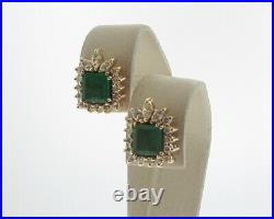 Natural 2.25cttw Green Emeralds Diamonds Solid 14k Yellow Gold Cocktail Earrings