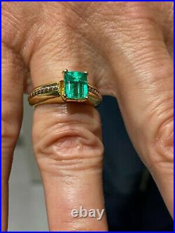 Natural Emerald Solitaire Ring, Vivid Green AAA, 1.00 Ct, 7 x 6 mm, 14k Gold