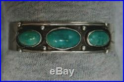 Navaho Vtg Bracelet cuff blue green turquoise stone with silver findings Old Pawn