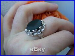 Ornate Victorian Solid Sterling Silver Bloodstone Signet Ring Size M Us 6 Rare