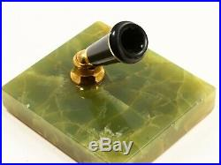 PARKER DUOFOLD FOUNTAIN PEN DESK SET IN MARBLED GREEN WithMARBLE BASE & GOLD TRIM