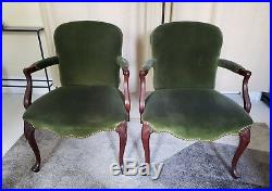 Pair Two (2) Green Velvet Antique Side Chairs Very Fine Local Pickup Only NJ