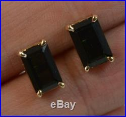 Pair of 14ct Gold and Single Emerald Cut Green Tourmaline Stud Earrings f1096